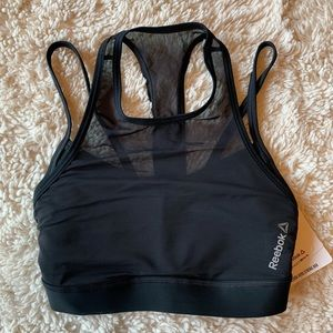 Reebok black mesh sports bra xs NWT